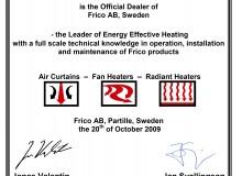 Сертификат сервис-партнера Frico.